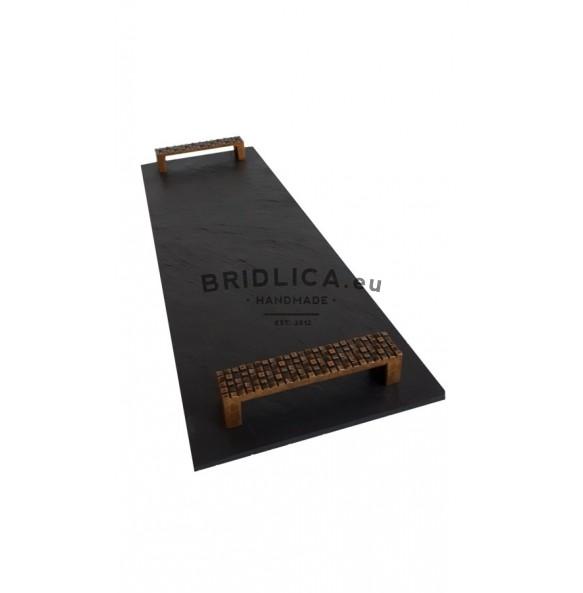 Podnos obdĺžnikový z bridlice EXCLUSIVE staré zlato 44x16 cm typ A. - Podnosy
