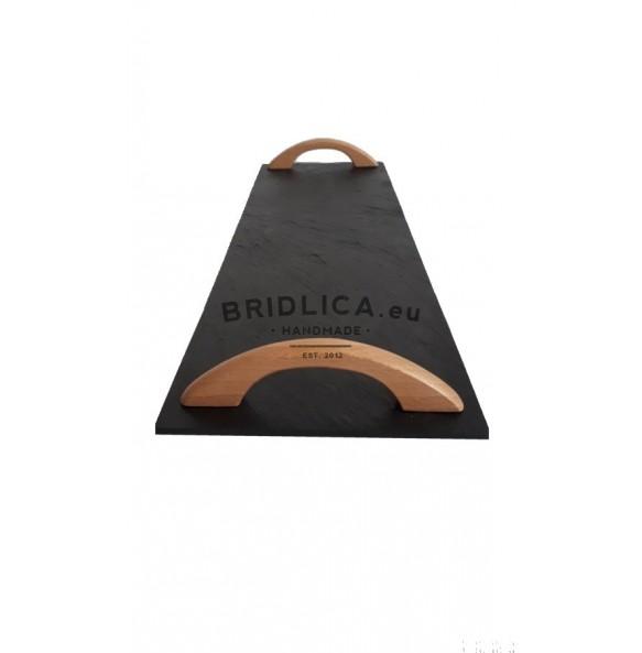 Podnos obdélníkový z břidlice EXCLUSIVE s dřevěnými držadly buk 44x16 cm typ A. - NOVINKY