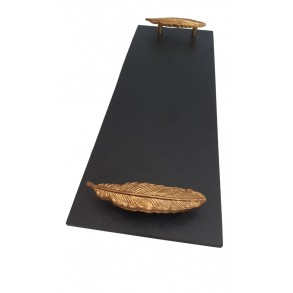 Rectangle Slate Platter EXCLUSIVE With Gilt Steel Handle 44x16 cm