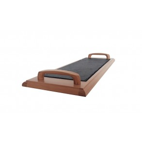 Podnos z bukového dřeva s břidlicovou deskou s bukovými držadly 50x16 cm typ B.