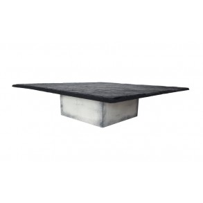 Serving Slate Platter With Wooden Square Stand, Patina, 30x30 cm