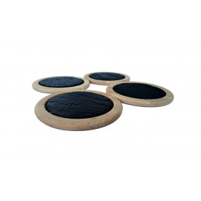 Beech Wood Saucer With Rounded Slate Plate, set 4 pieces,  Ø 14 cm