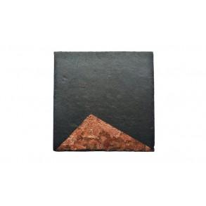 Podšálka z bridlice, zlatomedená, štvorcová 1ks, 11x11 cm, typ A.