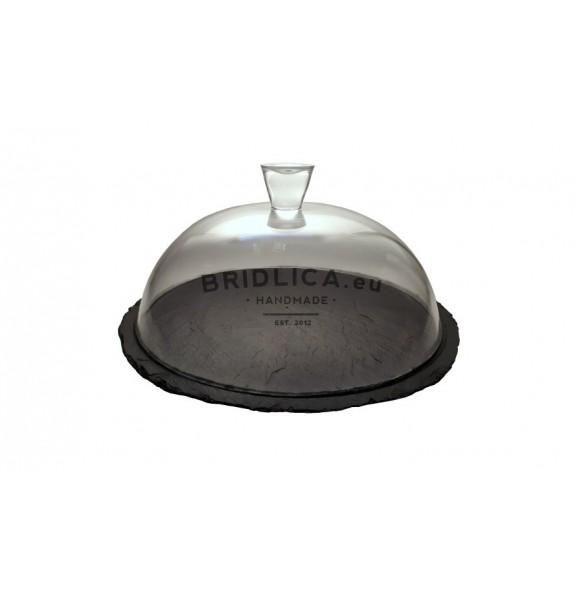 Servírovací deska z břidlice se skleněným poklopem Ø 34 cm typ D. - Různé