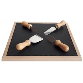 Beech Wooden Platter With Slate Plate + Special Wooden Stainless Steel Knifes For Cutting Cheese 30x25 cm type A.