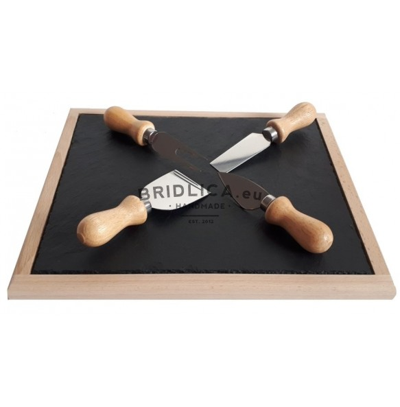 Beech Wooden Platter With Slate Plate + Special Wooden Stainless Steel Knifes For Cutting Cheese 30x25 cm type A. - NEW PRODUCTS