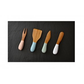 Slate Serving Plate + Special  Bamboo Colored Knifes for Cutting Cheese 40x25 cm type A.