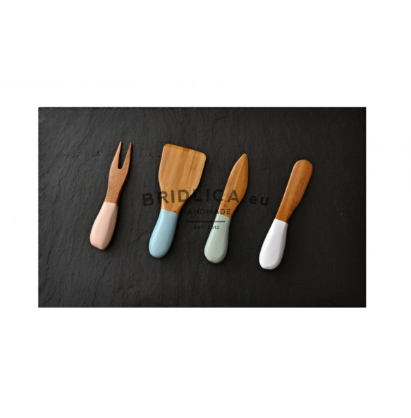 Slate Serving Plate + Special  Bamboo Colored Knifes for Cutting Cheese 40x25 cm type A. - NEW PRODUCTS