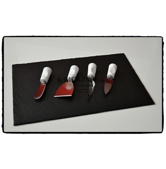 Servírovacia doska z bridlice + keramické nerezové nože na syry 40x25 cm typ B. - NOVINKY
