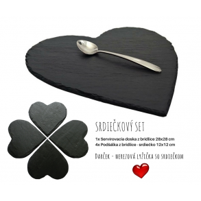 "Serving Set ""Slate Hearts"" 28x28 cm, 12x12 cm"