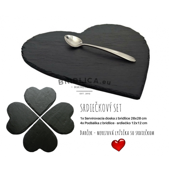 "Serving Set ""Slate Hearts"" 28x28 cm, 12x12 cm - NEW PRODUCTS"