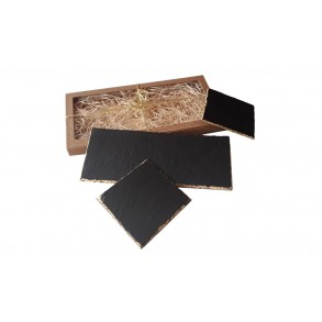 "Serving Set ""Slate Serving plate + Slate Saucers with golden decor"" 26x11 cm, 11x11 cm"