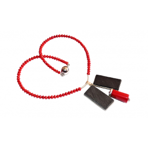 Exclusive necklace of natural bamboo red coral beads, silver and slate