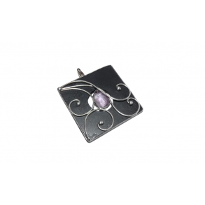"Slate pendant with ""amethyst"" mineral"
