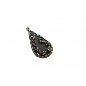 Slate pendant with colour beads made by Wire wrapping