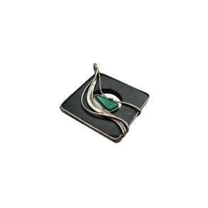 "Slate pendant with mineral ""malachite"""