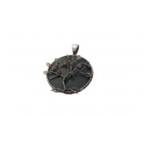 "Slate pendant TREE OF LIFE with minerals ""olivine, rose quartz, citrine"""