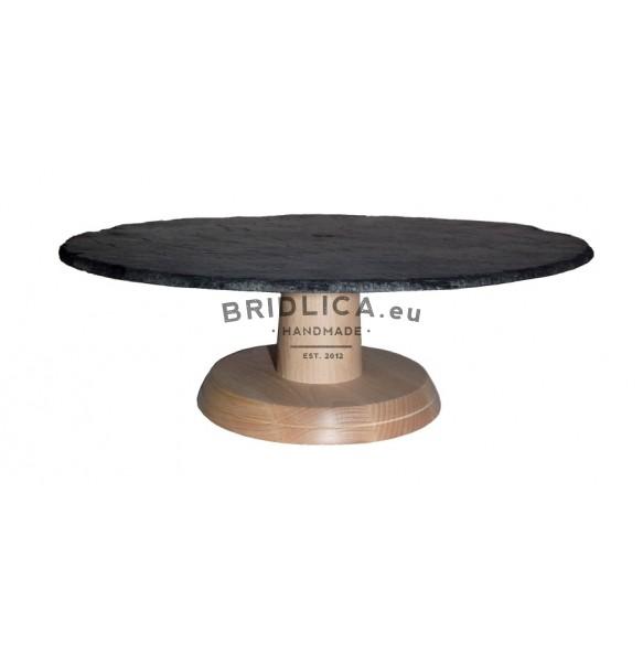 Stojan z bukového dřeva s kruhovou břidlicovou deskou Ø 34 cm typ A. - Stojany