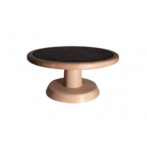 Beech Wooden Stand With Wood Tray With Circle Slate Plate Ø 25 cm type A.