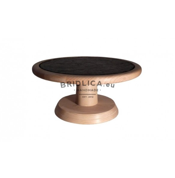 Beech Wooden Stand With Wood Tray With Circle Slate Plate Ø 25 cm type A. - Stands