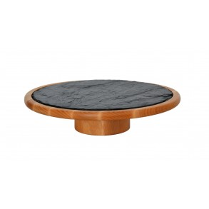 Beech Wooden Stand With Wood Tray With Circle Slate Plate Ø 33 cm type B.